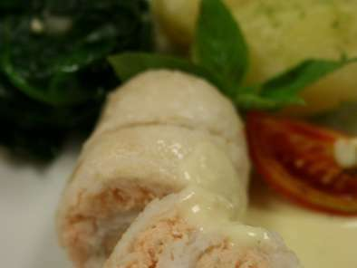 Poached Sole and Salmon Roulade