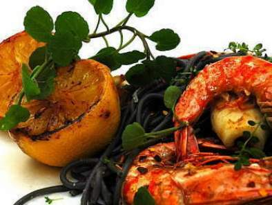 Seafood pasta - Squid Ink pasta with Prawns and grilled Calamari!!