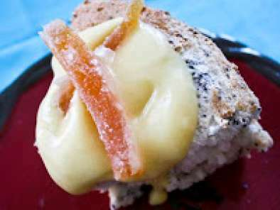 Poppyseed Angel Food Cake with Grapefruit Curd