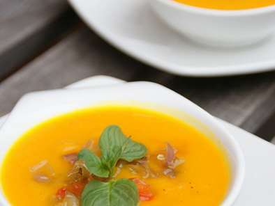 Pumpkin Soup cooked in Fresh Passion Fruit Juice