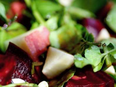 Roasted Beets, Watercress and Apple Salad with Pomegranate Dressing