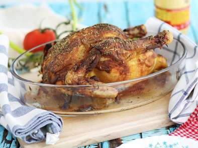Roasted chicken with Dijon mustard and herbs