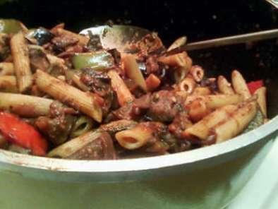 Roasted Vegetable Tomato Sauce over Pasta