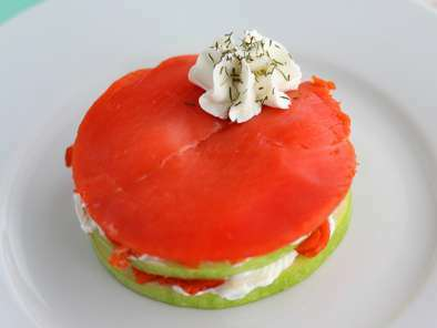 Salmon mille feuille with green apple, photo 3