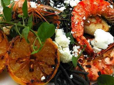 Seafood pasta - Squid Ink pasta with Prawns and grilled Calamari!!, Photo 2