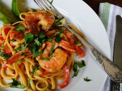 Shrimp with Linguine and Peanut Butter Sauce