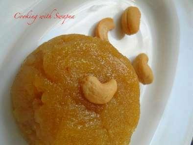 Sweet sooji halwa in jaggery sauce