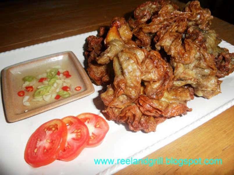 Tsitsaron or chicharon bulaklak (deep fried pork mesentery)