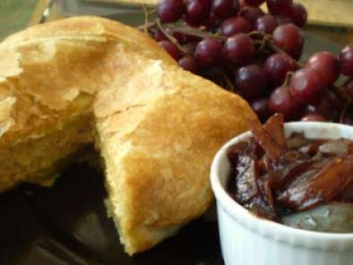 Vegan Baked Brie en Croute (in Puff Pastry) with Vegan Red Wine Onion Jam