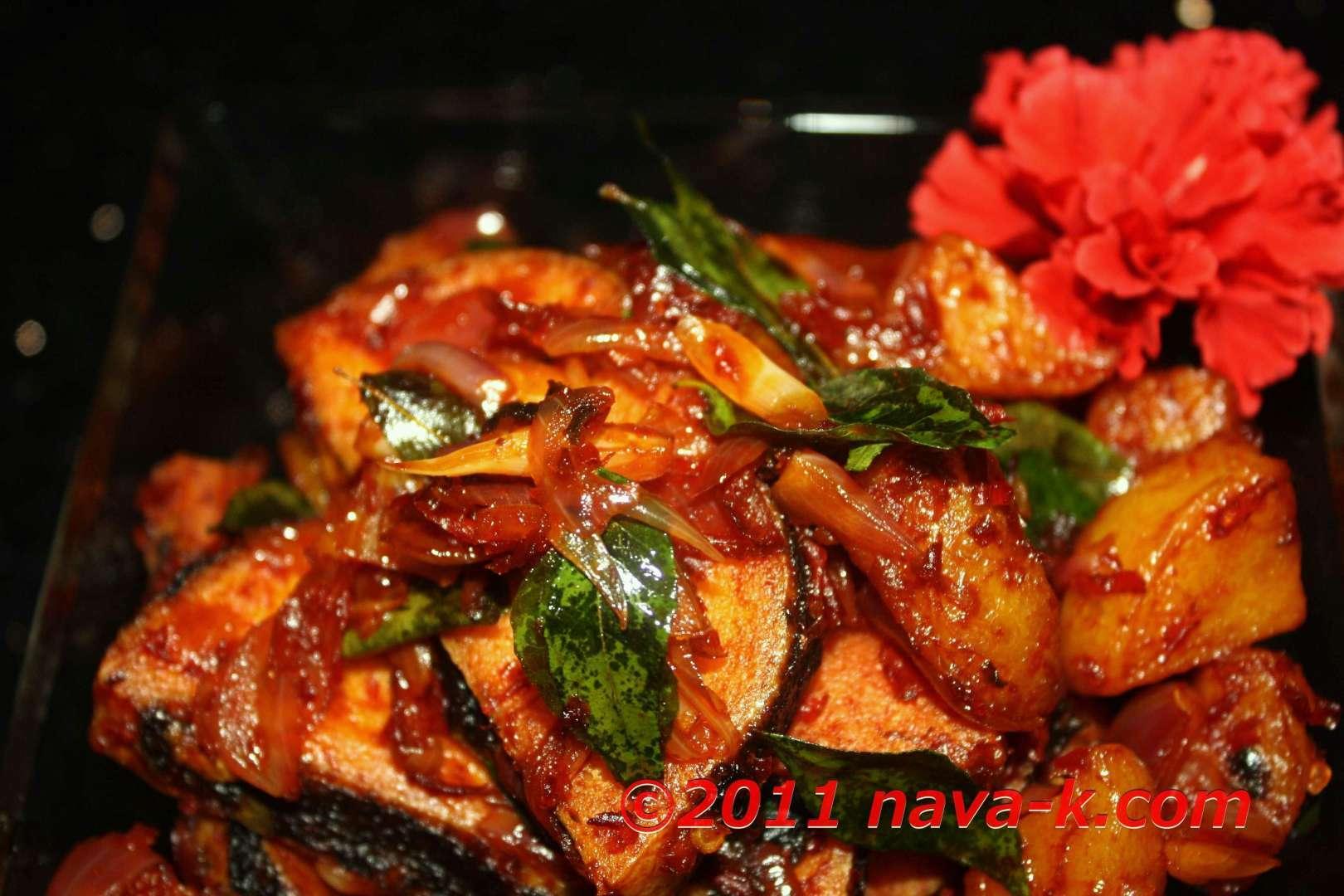 Vegetarian fish and potatoes sambal sauce recipe petitchef for Vegetarian fish sauce