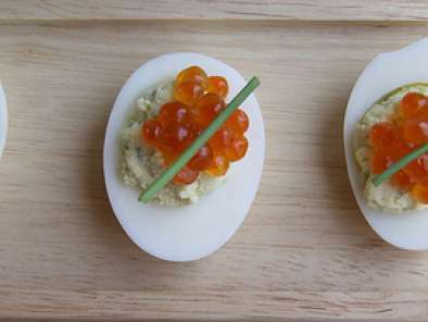 Wasabi Deviled Eggs with Salmon Roe