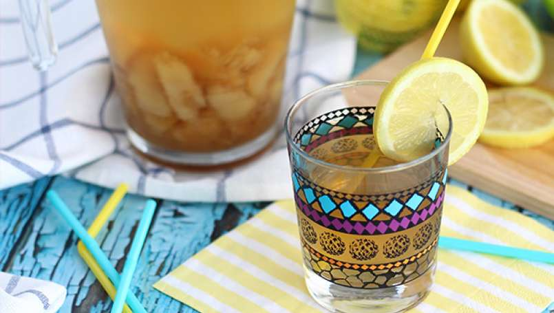 Homemade peach iced tea
