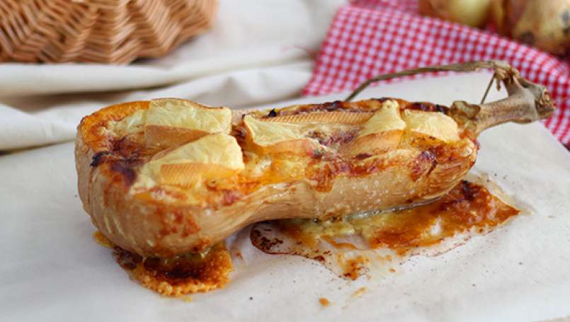 Cheese and bacon stuffed butternut